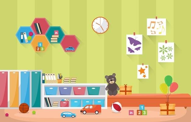 Crianças interiores das crianças das crianças da sala de aula do jardim de infância brinca a mobília
