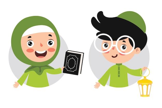 Crianças islâmicas segurando uma lâmpada e um livro sagrado do corão