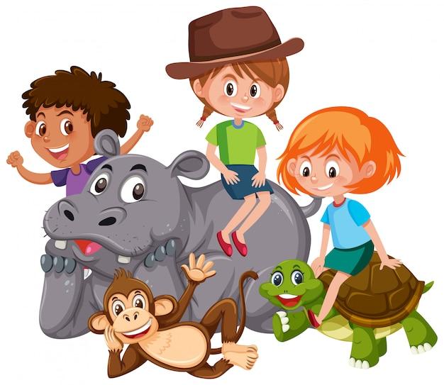 Crianças isoladas com animais selvagens