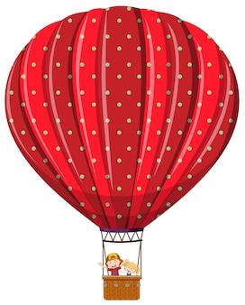 Crianças isoladas em balão de ar quente