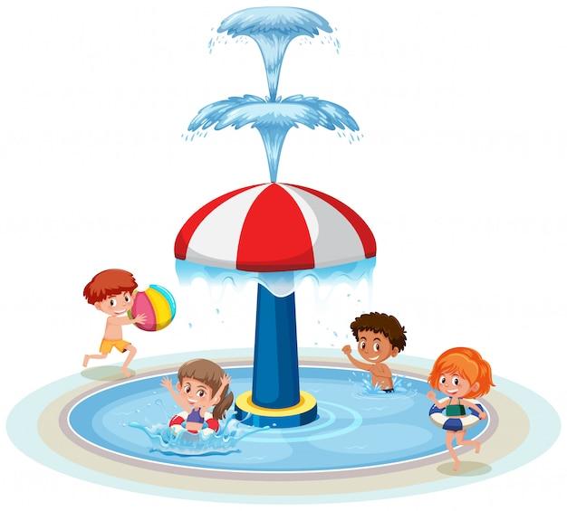 Crianças isoladas no parque aquático