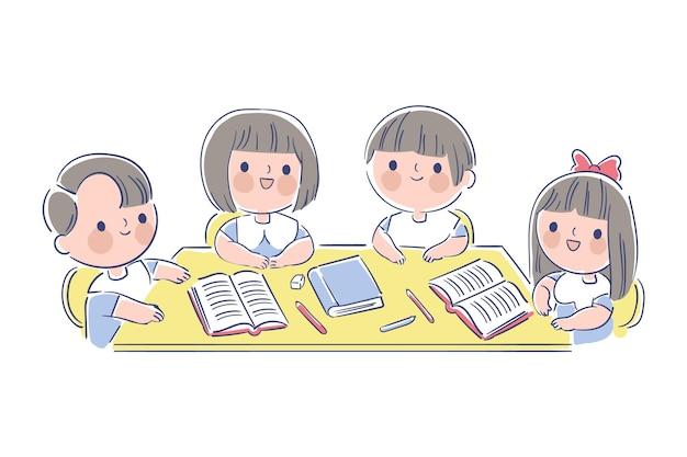 Crianças japonesas desenhadas à mão estudando