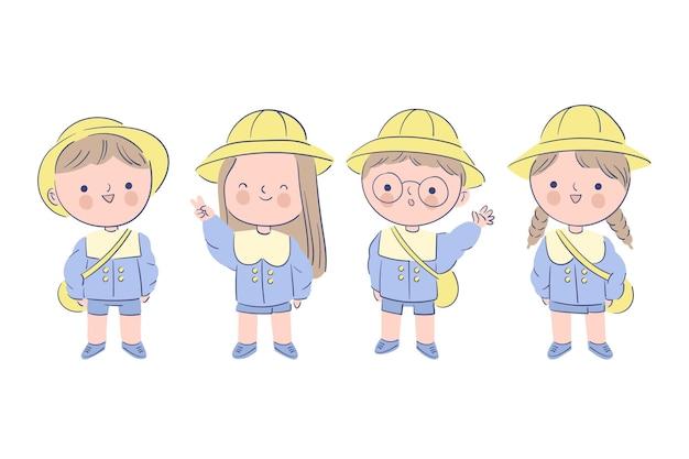 Crianças japonesas vestindo uniforme