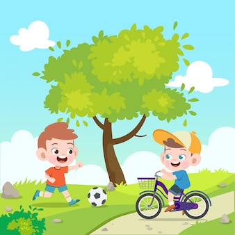 Crianças jogam futebol e bicicleta ilustração vetorial