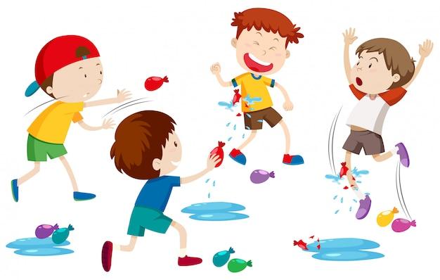 Crianças, jogando água, balão, luta