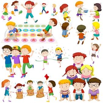 Crianças jogando diferentes tipos de jogos