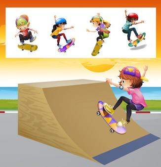 Crianças jogando skatboard na ilustração da rampa