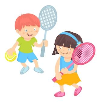 Crianças jogando tênis
