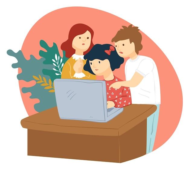 Crianças jogando videogame ou assistindo a vídeos no laptop. menino e meninas estudando em grupo de casa. crianças usando computador pessoal para navegar na internet. vetor de infância divertido em estilo simples