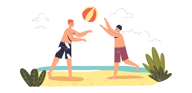 Crianças jogando vôlei na praia. crianças se divertindo ao ar livre nas férias de verão. dois meninos adolescentes na costa do mar. ilustração em vetor plana dos desenhos animados