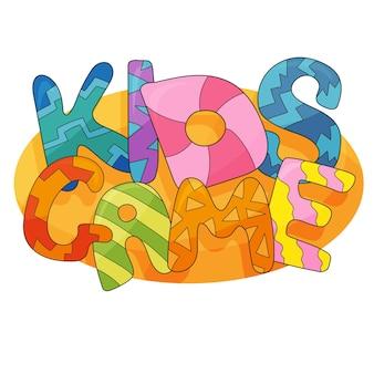 Crianças jogo de fundo vector em estilo cartoon. banner engraçado brilhante para decoração de sala de jogos de crianças. gráfico colorido para sala de jogos infantis