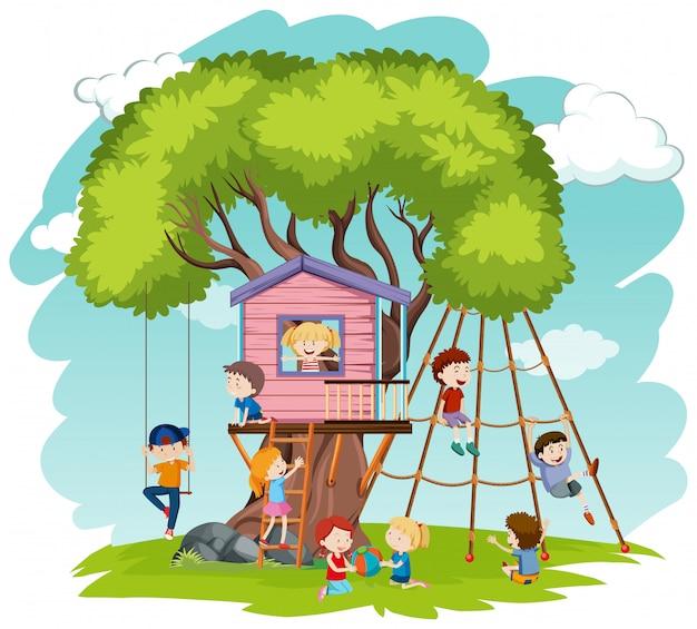 Crianças, jogo, em, casa árvore