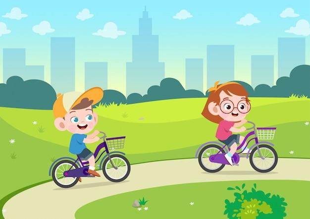 Crianças, jogo, montando, bicicleta, vetorial, ilustração
