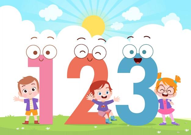 Crianças, jogo, número, vetorial, ilustração