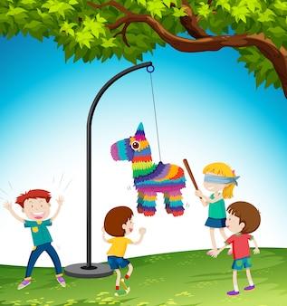 Crianças, jogo, pinata, burro, ilustração