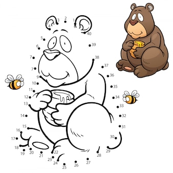 Crianças jogo ponto a ponto urso