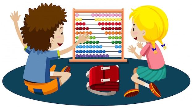 Crianças jovens, tocando, com, um, ábaco
