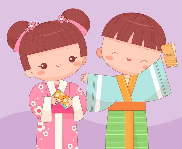 Crianças kawaii com envelopes de oshidama