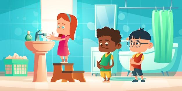 Crianças lavam as mãos no banheiro, higiene das crianças