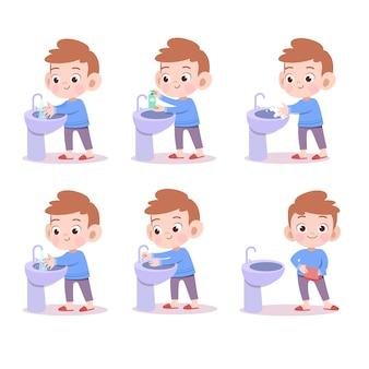 Crianças lavando a ilustração vetorial de mão isolada