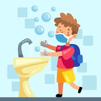 Crianças lavando as mãos na escola