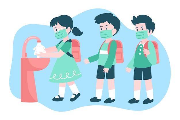 Crianças lavando as mãos nas escolas