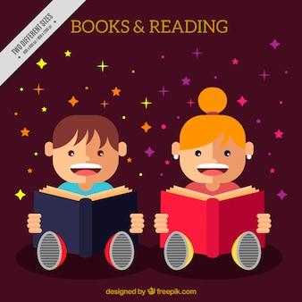 Crianças leitura de fundo no design plano