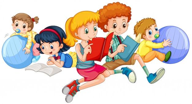 Crianças, leitura, e, tocando, com, bolas