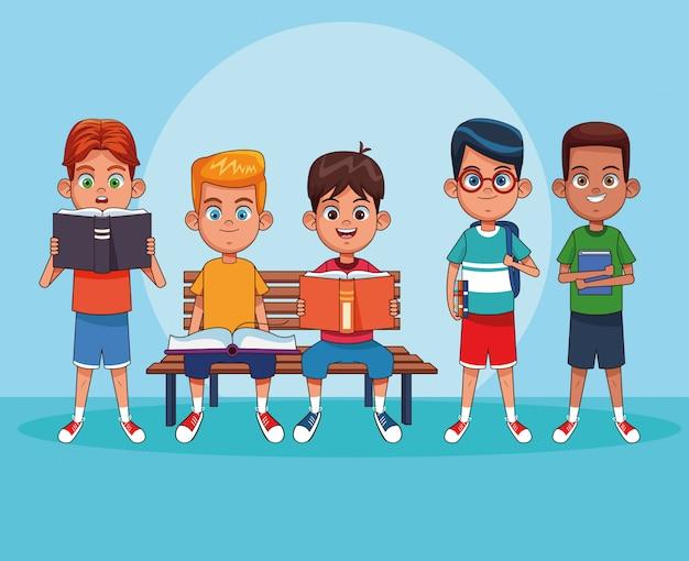 Crianças, leitura, livros, desenhos animados