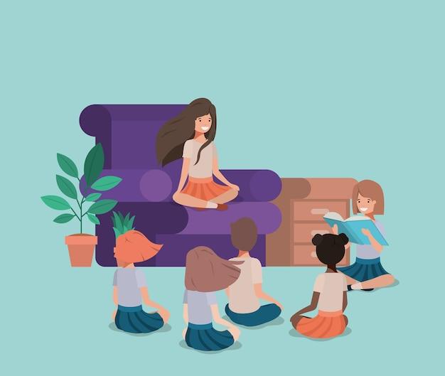 Crianças, leitura, vivendo, sala, avatar, personagem