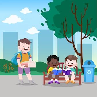 Crianças lendo a ilustração vetorial de parque