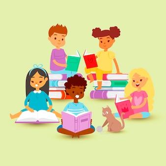 Crianças lendo em círculo em uma pilha de livros gato dos desenhos animados. educação e conhecimento escolar. nacionalidades diferentes crianças lendo livros