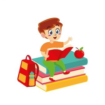 Crianças lendo livro de volta à escola
