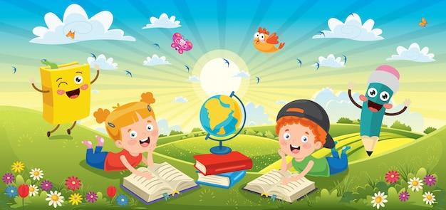 Crianças lendo livros na paisagem de primavera