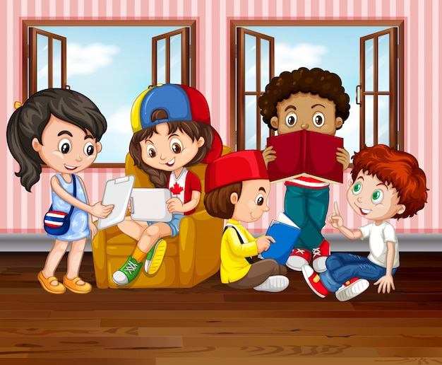 Crianças lendo livros no quarto