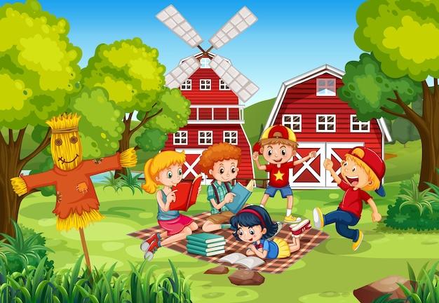 Crianças lendo livros no quintal