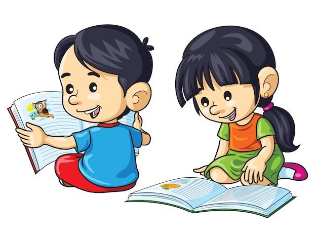 Crianças lendo livros