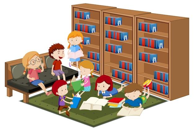Crianças lendo reserva na biblioteca isoladas