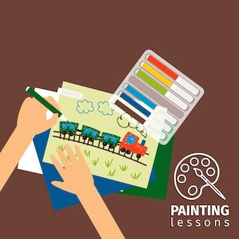 Crianças, lições pintura, ilustração
