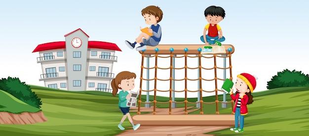 Crianças, ligado, cena playground