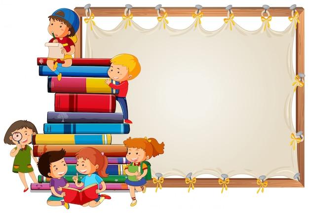 Crianças, ligado, tábua madeira