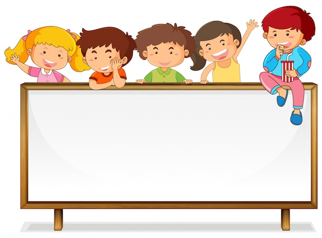 Crianças, ligado, whiteboard, bandeira