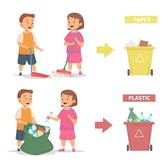 Crianças limpam e jogam lixo na lixeira de maneira adequada