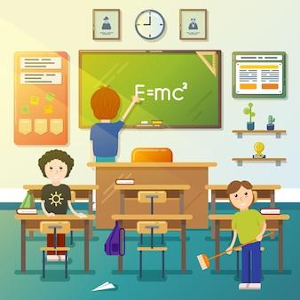 Crianças limpando a sala de aula. limpar o quadro-negro, limpar a classe, limpar o quadro-negro, varrer o menino. ilustração vetorial
