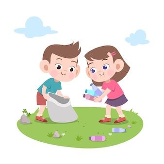 Crianças, limpeza, lixo, ilustração