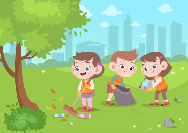 Crianças, limpeza, parque, vetorial, ilustração
