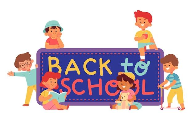 Crianças lindas lendo o livro de volta à ilustração da escola