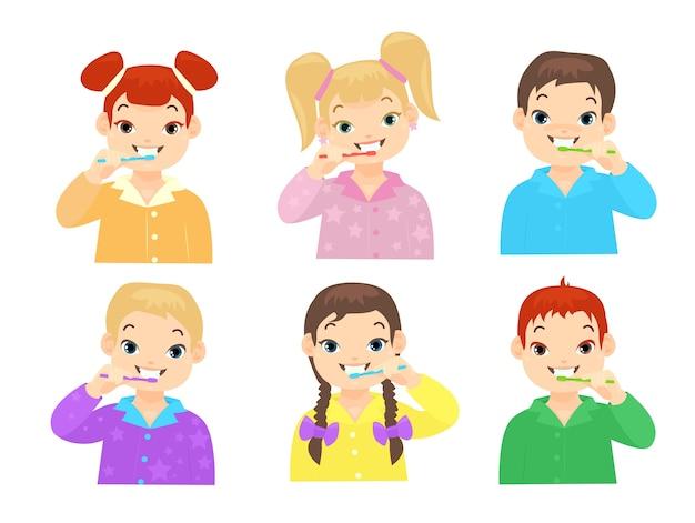 Crianças lindas limpando os dentes com escovas de dente ilustrações embalar desenhos animados para meninos e meninas. higiene diária