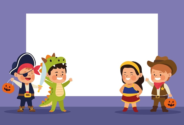 Crianças lindas vestidas como personagens diferentes.