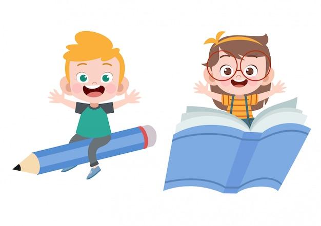 Crianças, livro, lápis